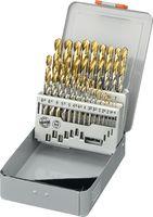 FUTURO Sortiment Spiralbohrer  ECO Typ N, HSS, TiN, in Metallkassette 1-10.5 / 0.5 + Kernlochbohrer - toolster.ch