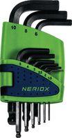 NERIOX Sechskant-Winkelstiftschlüsselsatz , mit Kugelkopf 9-teilig, kurz, 1.5...10 mm - toolster.ch