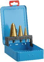 Sortiment KSB-Schälaufbohrer HSS-TiN in Metallkassette Gr.0: 3-14mm/1: 8-20mm/2:16-30.5mm - toolster.ch