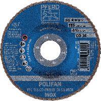 PFERD Fächerschleifscheibe  POLIFAN konische Ausführung, Keramikkorn Ø 115, 36 (PFC 115 CO-FREEZE 36 SG-INOX) - toolster.ch