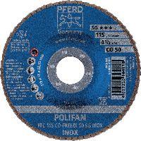 PFERD Fächerschleifscheibe  POLIFAN konische Ausführung, Keramikkorn Ø 115, 50 (PFC 115 CO-FREEZE 50 SG-INOX) - toolster.ch
