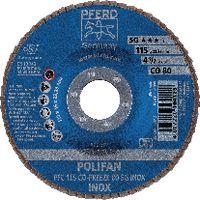PFERD Fächerschleifscheibe  POLIFAN konische Ausführung, Keramikkorn Ø 115, 80 (PFC 115 CO-FREEZE 80 SG-INOX) - toolster.ch