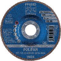 PFERD Fächerschleifscheibe  POLIFAN konische Ausführung, Keramikkorn Ø 125, 36 (PFC 125 CO-FREEZE 36 SG-INOX) - toolster.ch