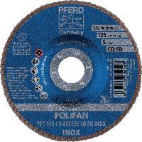 PFERD Fächerschleifscheibe  POLIFAN konische Ausführung, Keramikkorn Ø 125, 50 (PFC 125 CO-FREEZE 50 SG-INOX) - toolster.ch