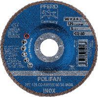 PFERD Fächerschleifscheibe  POLIFAN konische Ausführung, Keramikkorn Ø 125, 80 (PFC 125 CO-FREEZE 80 SG-INOX) - toolster.ch