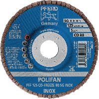 PFERD Fächerschleifscheibe  POLIFAN flache Ausführung, Keramikkorn Ø 125, 80 (PFF 125 CO-FREEZE 80 SG-INOX) - toolster.ch