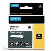 DYMO Schriftbandkassette 19mm x 3.5m 18489 / schwarz auf weiss - toolster.ch