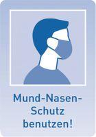 SAFETYMARKING Hinweisschild - Maskenpflicht Mund-Nasen-Schutz benutzen! blau, B 21,0 cm x H 29,7 cm - toolster.ch