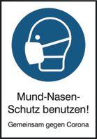 SAFETYMARKING Hinweisschild - Maskenpflicht Mund-Nasen-Schutz benutzen! weiss, B 21,0 cm x H 29,7 cm - toolster.ch