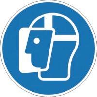SAFETYMARKING Gebotsschild Gesichtsschutz benutzen Durchmesser 50 mm, Bogen à 6 Stk. - toolster.ch