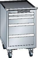 LISTA Fahrbarer Boy  18 x 27 E Schubladen 1x50, 1x100, 2x150 H 705 grau RAL 7035 - toolster.ch