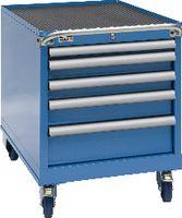 FUTURO Fahrbarer Boy  27 x 36 E Schubladen 1x50, 2x75, 1x100, 1x150 H 708 blau RAL 5015 - toolster.ch