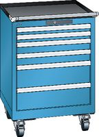 LISTA Fahrbarer Boy  27 x 27 E Schubladen 2x50, 2x75, 2x150 H 822 blau RAL 5012 - toolster.ch