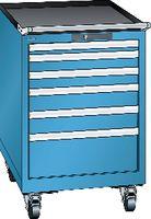 LISTA Fahrbarer Boy  27 x 27 E Schubladen 1x50, 2x75, 2x100, 1x200 H 872 blau RAL 5012 - toolster.ch