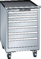 LISTA Fahrbarer Boy  27 x 27 E Schubladen 2x75, 3x100, 1x150 H 872 grau RAL 7035 - toolster.ch