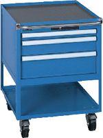 LISTA Fahrbarer Boy  27 x 36 E Schubladen 1x50, 1x100, 1x150 H 760 lichtblau RAL 5012 - toolster.ch