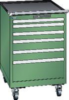 LISTA Fahrbarer Boy  27 x 36 E Schubladen 1x50, 2x75, 2x100, 1x200 H 872 grün RAL 6011 - toolster.ch