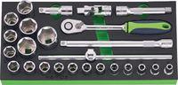 """NERIOX Modul Sechskant-Steckschlüsselsatz 1/2"""" 188 x 395 x 30 mm, 25-teilig - toolster.ch"""