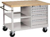 FUTURO Fahrbare Werkbank mit Buchenplatte und Schubladenschrank grau RAL 7035 - toolster.ch