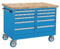 FUTURO Fahrbare Werkbank mit Buchenplatte + 2 Schubladenschränken blau RAL 5015 - toolster.ch