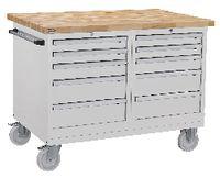 FUTURO Fahrbare Werkbank mit Buchenplatte + 2 Schubladenschränken grau RAL 7035 - toolster.ch