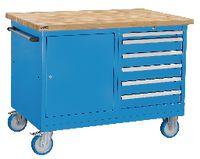 FUTURO Fahrbare Werkbank mit Buchenplatte und Schubladenschrank blau RAL 5015 - toolster.ch
