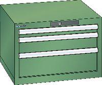 LISTA Schubladenschrank  27x27E (564x572) Schubladen 1x50, 1x100, 1x150 H 383 Resedagrün RAL 6011 - toolster.ch