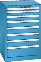 LISTA Schubladenschrank 27x27E, 8 Schubladen H 850 - lichtblau RAL 5012 - toolster.ch
