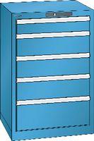 LISTA Schubladenschrank 27x27E, 5 Schubladen H 850 - lichtblau RAL 5012 - toolster.ch