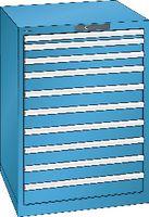 LISTA Schubladenschrank 36x36E, 10 Schubladen H 1000 -  lichtblau RAL 5012 - toolster.ch