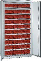LISTA Behälterschrank RAL7035 / 40 Behälter rot Gr. 4 - toolster.ch
