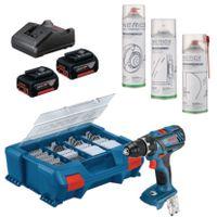 BOSCH Akku-Bohrschrauber-Set mit NERIOX Silikon- und Reinigungssprays GSR 18V-28, 2 x 4.0 Ah, 82-tlg. Zubehör - toolster.ch