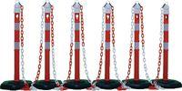Absperrpfosten Set mit 6 Pfosten und 5 Ketten 1000 mm - toolster.ch