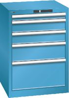 LISTA Schubladenschrank 27x27E, 5 Schubladen H 800 - lichtblau RAL 5012 - toolster.ch