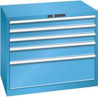 LISTA Schubladenschrank 54x36E, 5 Schubladen H 850 -  lichtblau RAL 5012 - toolster.ch